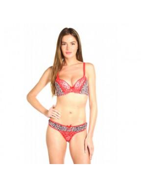 Abire Leopard rouge - Ensemble soutien-gorge / string